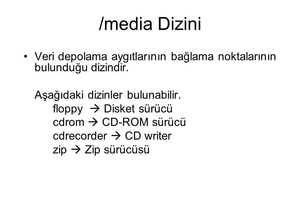 /media Dizini Veri depolama aygıtlarının bağlama noktalarının bulunduğu dizindir. Aşağıdaki dizinler bulunabilir.
