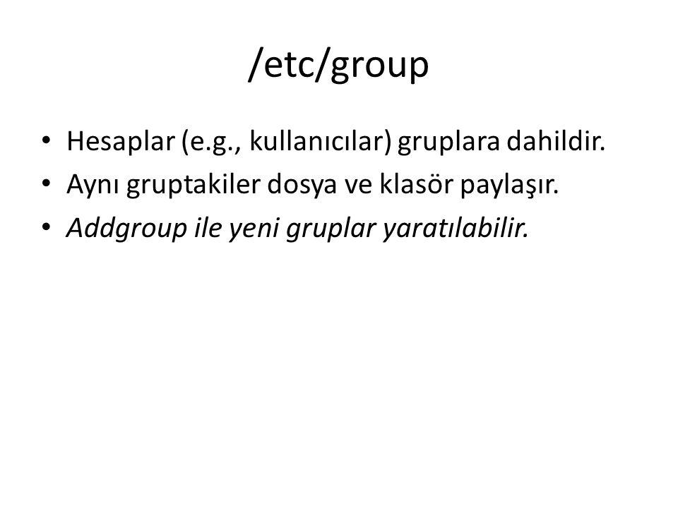 /etc/group Hesaplar (e.g., kullanıcılar) gruplara dahildir.
