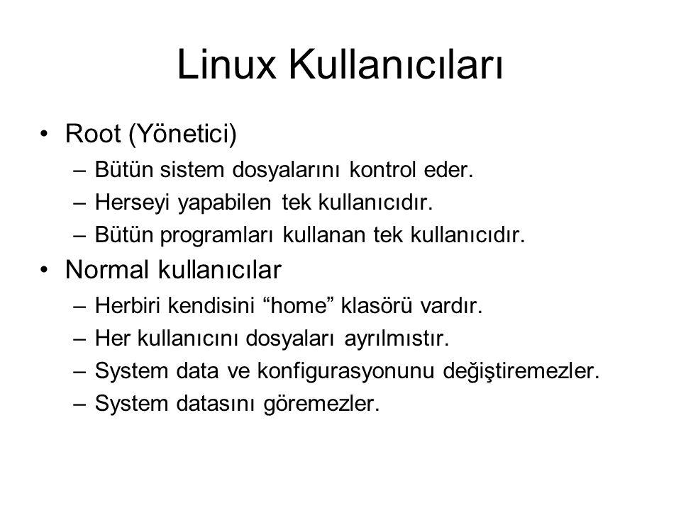 Linux Kullanıcıları Root (Yönetici) Normal kullanıcılar