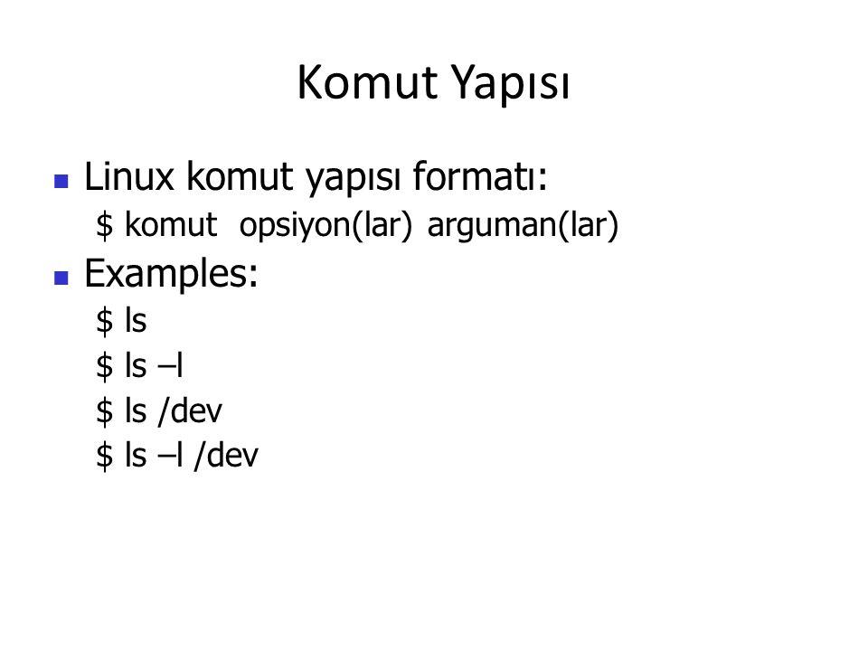 Komut Yapısı Linux komut yapısı formatı: Examples: