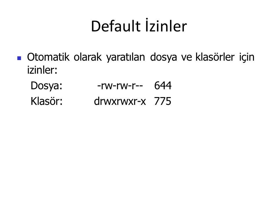 Default İzinler Otomatik olarak yaratılan dosya ve klasörler için izinler: Dosya: -rw-rw-r-- 644.