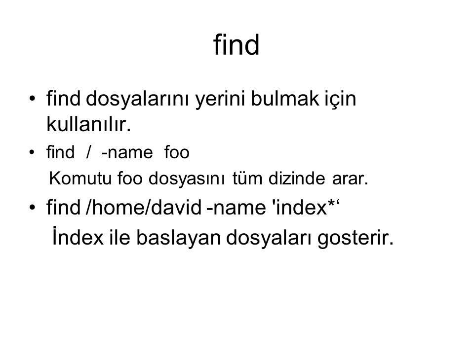find find dosyalarını yerini bulmak için kullanılır.
