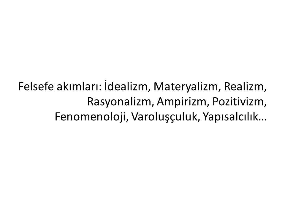 Felsefe akımları: İdealizm, Materyalizm, Realizm, Rasyonalizm, Ampirizm, Pozitivizm, Fenomenoloji, Varoluşçuluk, Yapısalcılık…