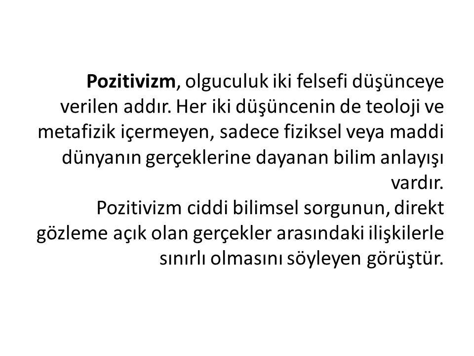 Pozitivizm, olguculuk iki felsefi düşünceye verilen addır