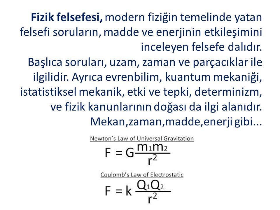 Fizik felsefesi, modern fiziğin temelinde yatan felsefi soruların, madde ve enerjinin etkileşimini inceleyen felsefe dalıdır.