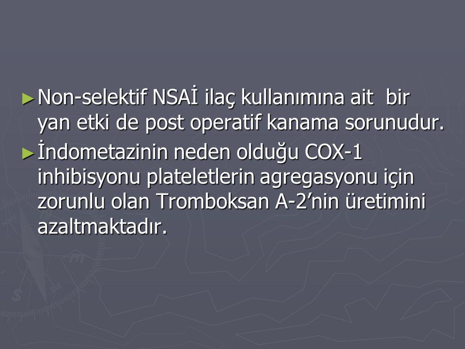 Non-selektif NSAİ ilaç kullanımına ait bir yan etki de post operatif kanama sorunudur.