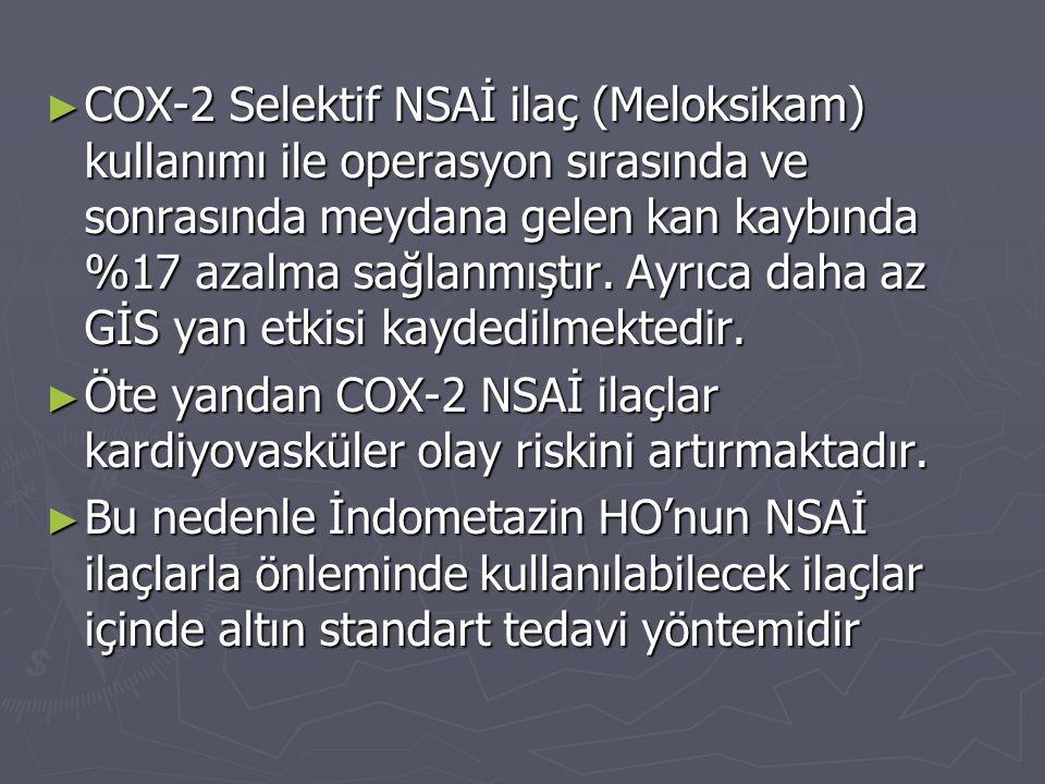 COX-2 Selektif NSAİ ilaç (Meloksikam) kullanımı ile operasyon sırasında ve sonrasında meydana gelen kan kaybında %17 azalma sağlanmıştır. Ayrıca daha az GİS yan etkisi kaydedilmektedir.