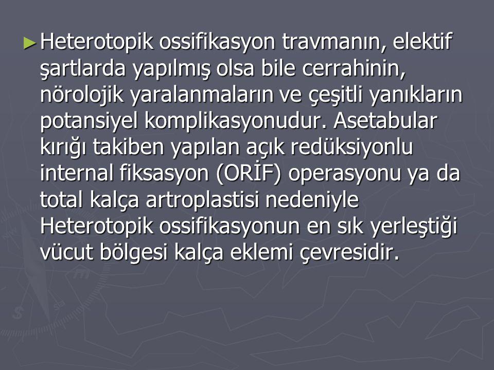 Heterotopik ossifikasyon travmanın, elektif şartlarda yapılmış olsa bile cerrahinin, nörolojik yaralanmaların ve çeşitli yanıkların potansiyel komplikasyonudur.