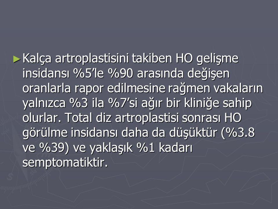 Kalça artroplastisini takiben HO gelişme insidansı %5'le %90 arasında değişen oranlarla rapor edilmesine rağmen vakaların yalnızca %3 ila %7'si ağır bir kliniğe sahip olurlar.