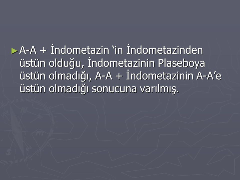 A-A + İndometazin 'in İndometazinden üstün olduğu, İndometazinin Plaseboya üstün olmadığı, A-A + İndometazinin A-A'e üstün olmadığı sonucuna varılmış.