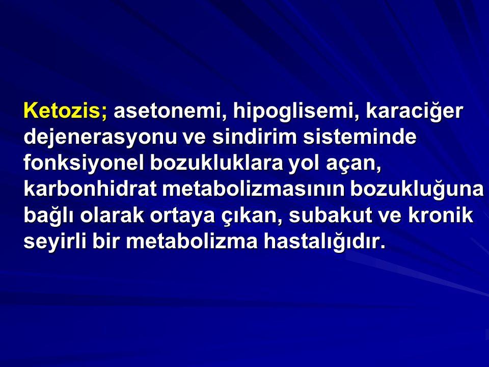 Ketozis; asetonemi, hipoglisemi, karaciğer dejenerasyonu ve sindirim sisteminde fonksiyonel bozukluklara yol açan, karbonhidrat metabolizmasının bozukluğuna bağlı olarak ortaya çıkan, subakut ve kronik seyirli bir metabolizma hastalığıdır.