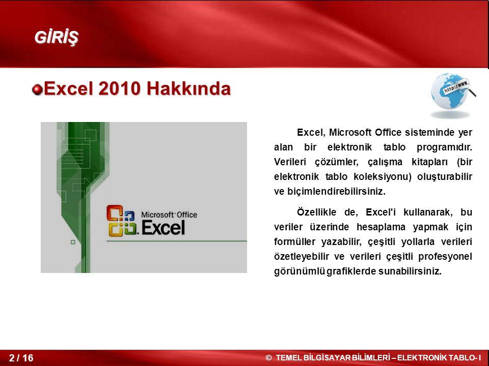 GİRİŞ Excel 2010 Hakkında.