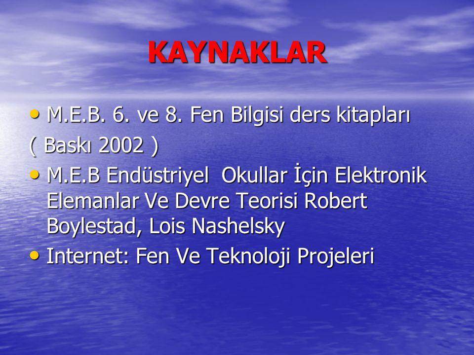 KAYNAKLAR M.E.B. 6. ve 8. Fen Bilgisi ders kitapları ( Baskı 2002 )