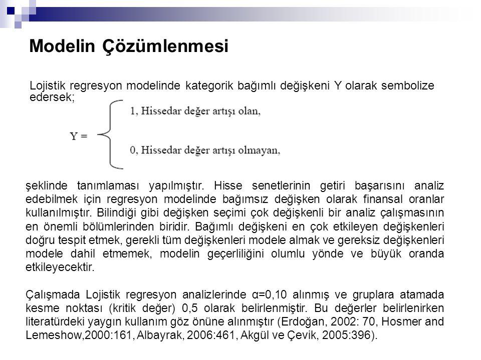 Modelin Çözümlenmesi Lojistik regresyon modelinde kategorik bağımlı değişkeni Y olarak sembolize edersek;