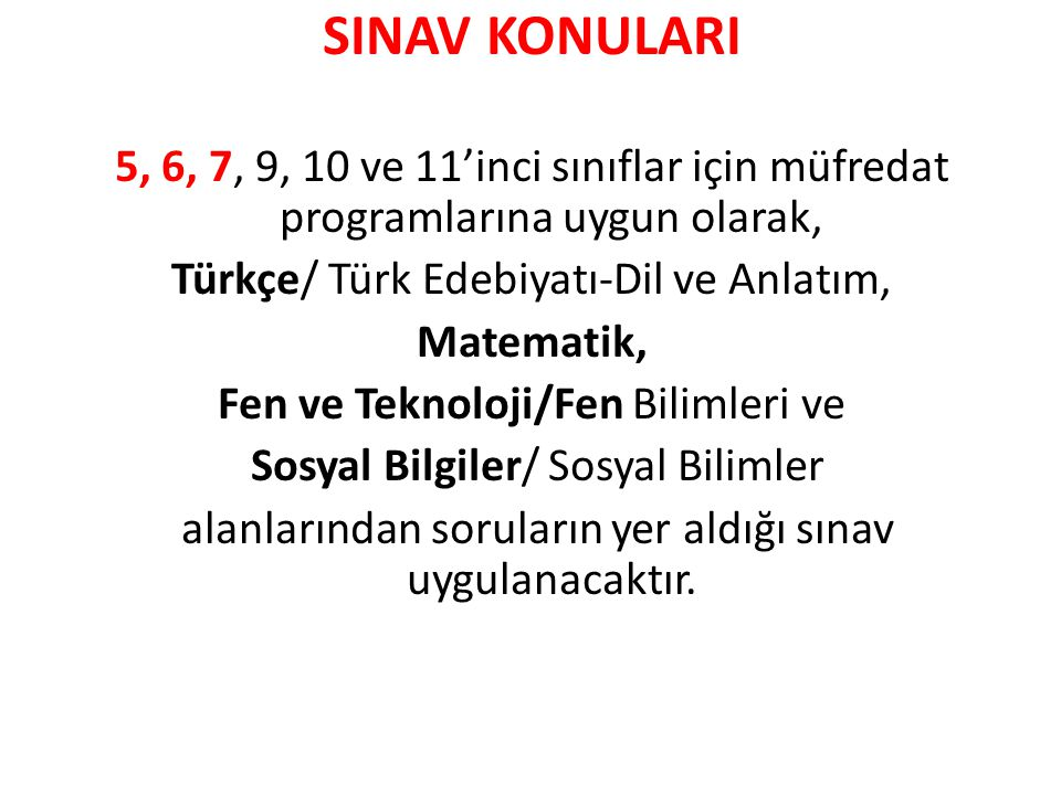 SINAV KONULARI 5, 6, 7, 9, 10 ve 11'inci sınıflar için müfredat programlarına uygun olarak, Türkçe/ Türk Edebiyatı-Dil ve Anlatım,