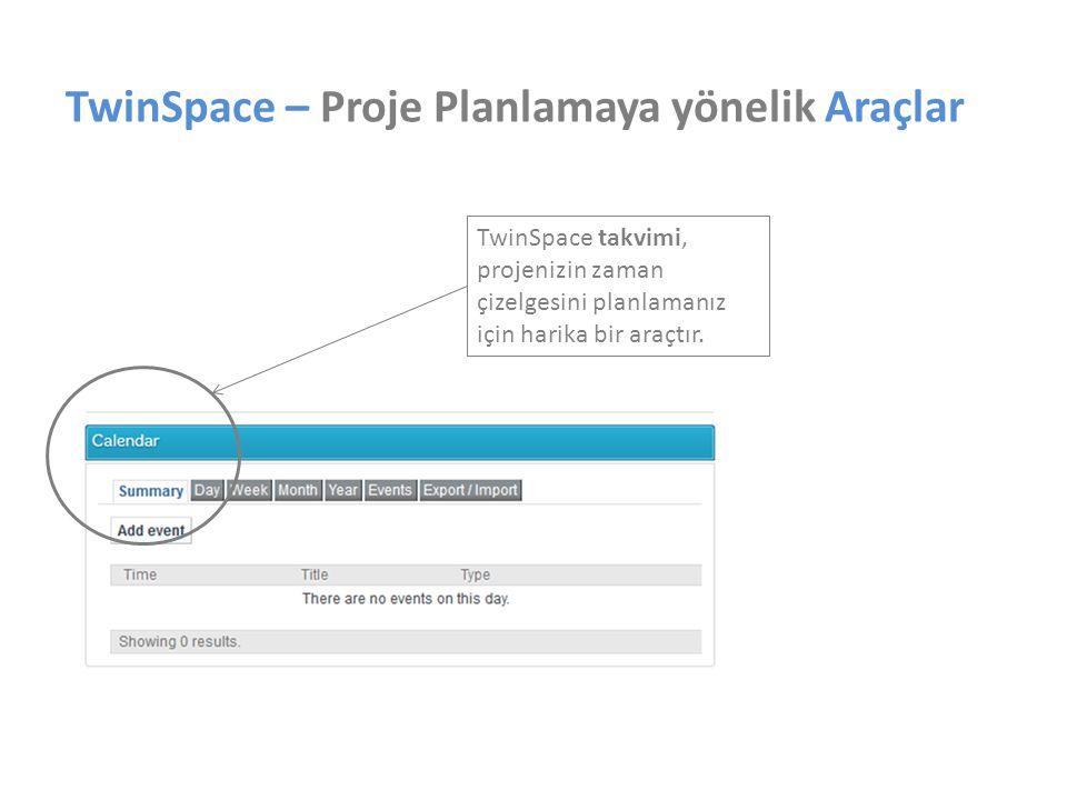 TwinSpace – Proje Planlamaya yönelik Araçlar