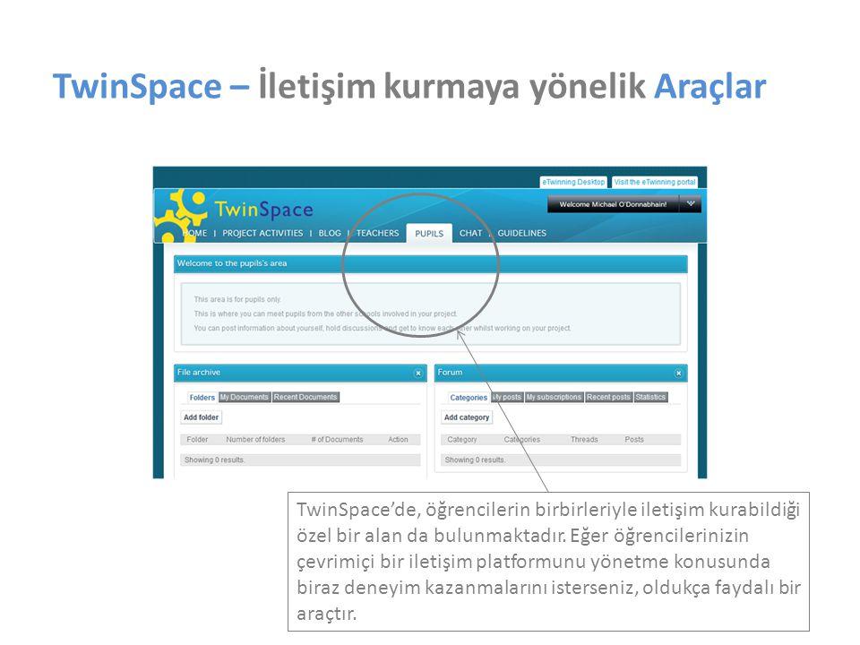 TwinSpace – İletişim kurmaya yönelik Araçlar