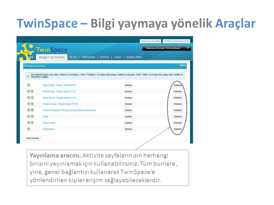 TwinSpace – Bilgi yaymaya yönelik Araçlar