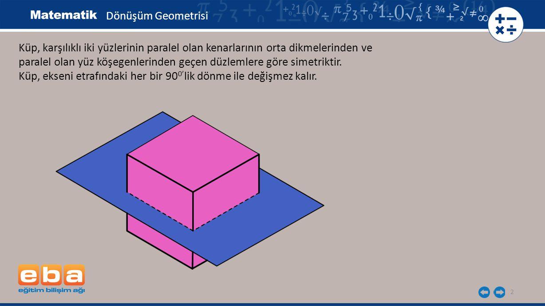 Dönüşüm Geometrisi Küp, karşılıklı iki yüzlerinin paralel olan kenarlarının orta dikmelerinden ve.