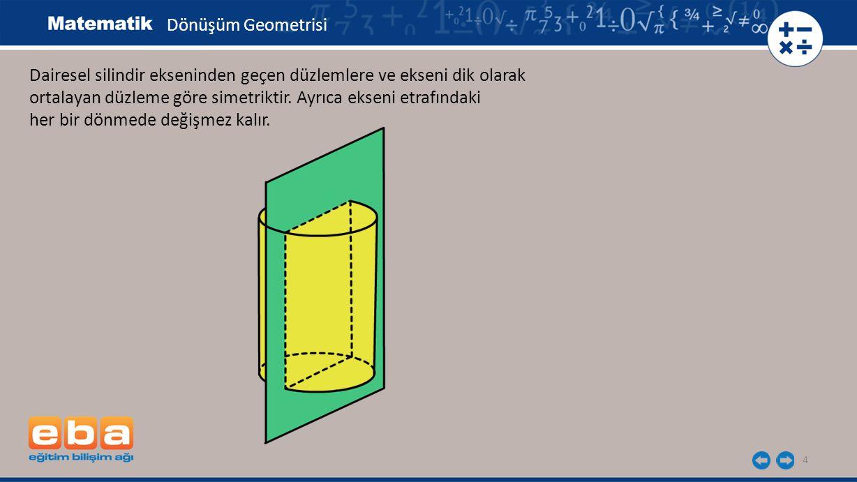 Dönüşüm Geometrisi Dairesel silindir ekseninden geçen düzlemlere ve ekseni dik olarak. ortalayan düzleme göre simetriktir. Ayrıca ekseni etrafındaki.