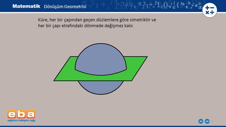Dönüşüm Geometrisi Küre, her bir çapından geçen düzlemlere göre simetriktir ve.