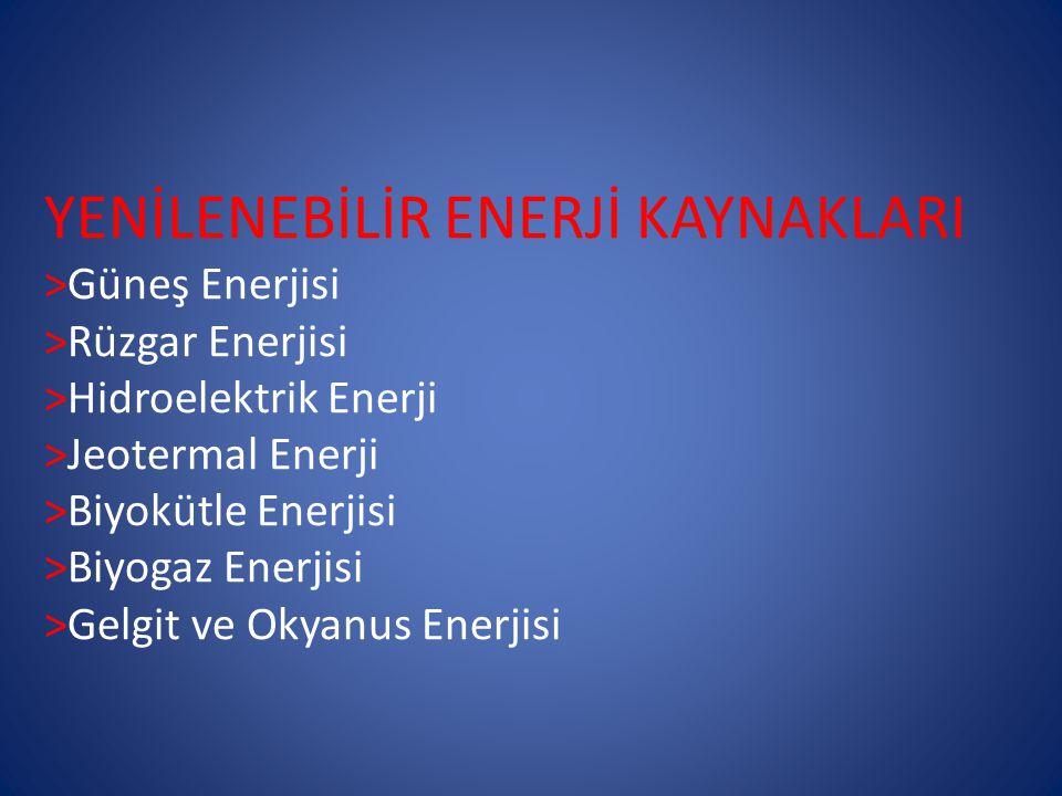 YENİLENEBİLİR ENERJİ KAYNAKLARI >Güneş Enerjisi >Rüzgar Enerjisi >Hidroelektrik Enerji >Jeotermal Enerji >Biyokütle Enerjisi >Biyogaz Enerjisi >Gelgit ve Okyanus Enerjisi