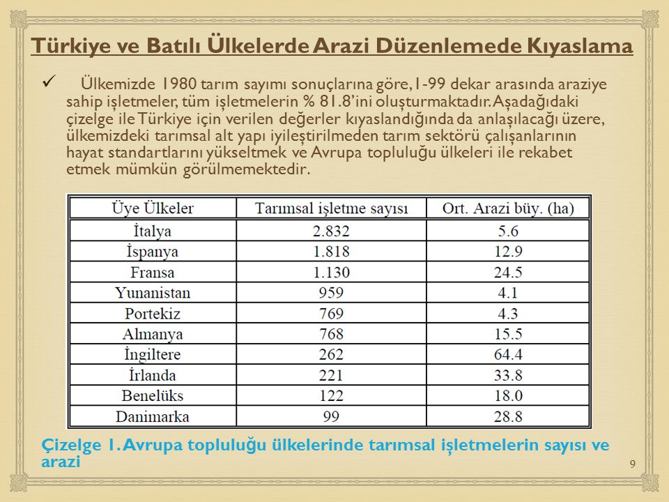 Türkiye ve Batılı Ülkelerde Arazi Düzenlemede Kıyaslama