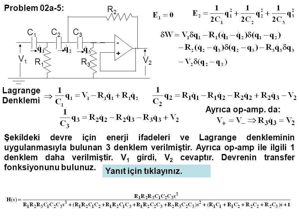 Problem 02a-5: R2 C1 C2 C3 V1 V2 R1 R3 Lagrange Denklemi