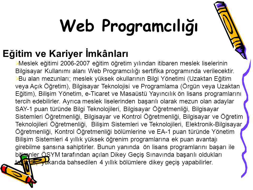 Web Programcılığı Eğitim ve Kariyer İmkânları