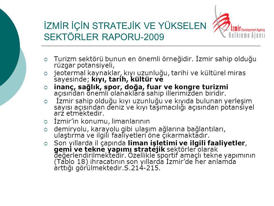 İZMİR İÇİN STRATEJİK VE YÜKSELEN SEKTÖRLER RAPORU-2009