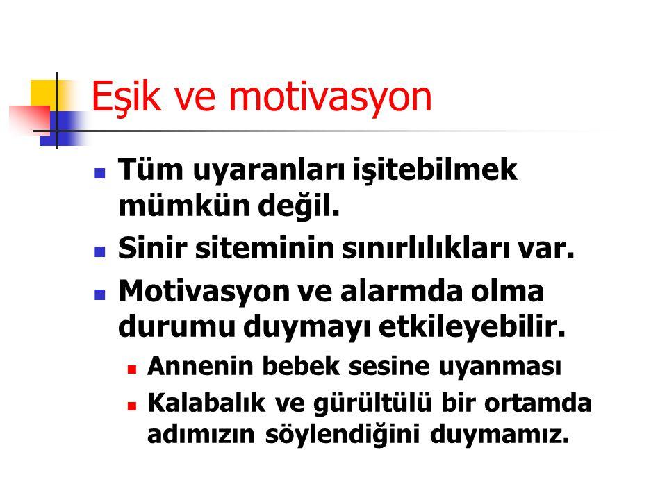 Eşik ve motivasyon Tüm uyaranları işitebilmek mümkün değil.