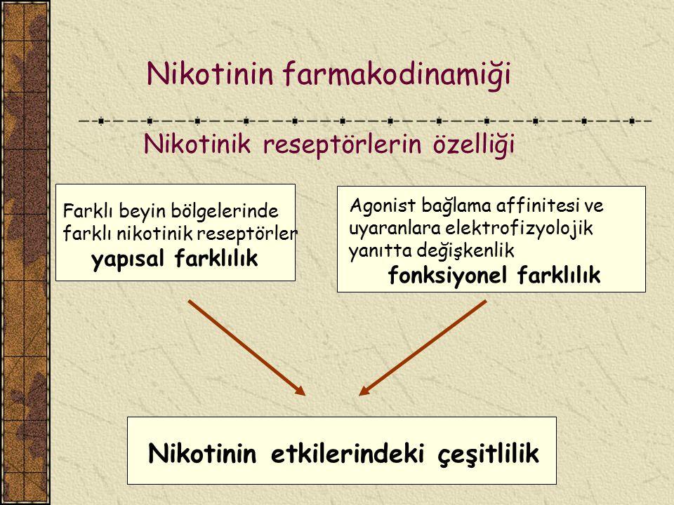 Nikotinin farmakodinamiği Nikotinik reseptörlerin özelliği
