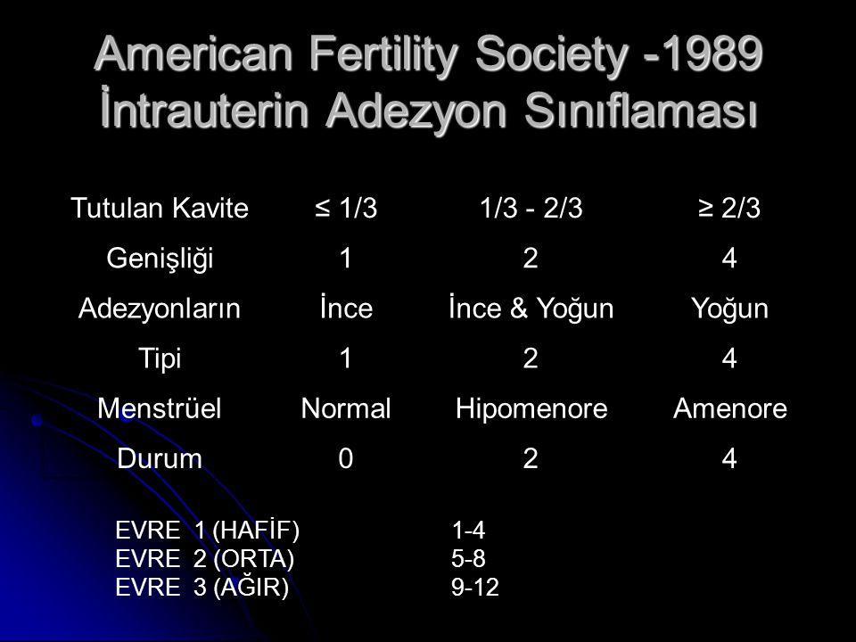 American Fertility Society -1989 İntrauterin Adezyon Sınıflaması