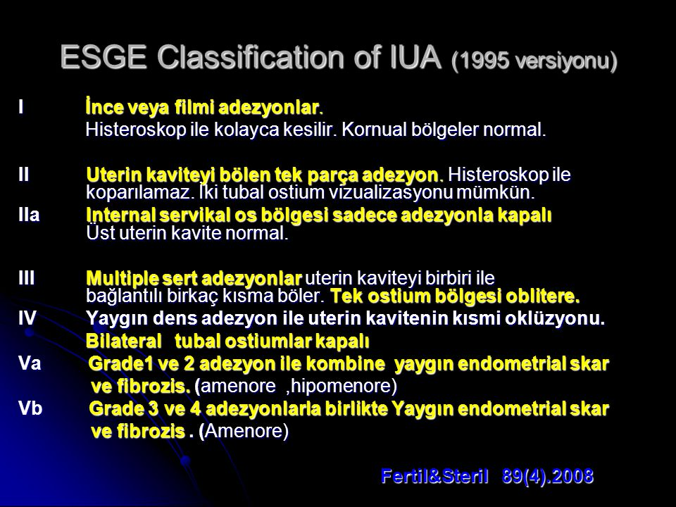 ESGE Classification of IUA (1995 versiyonu)