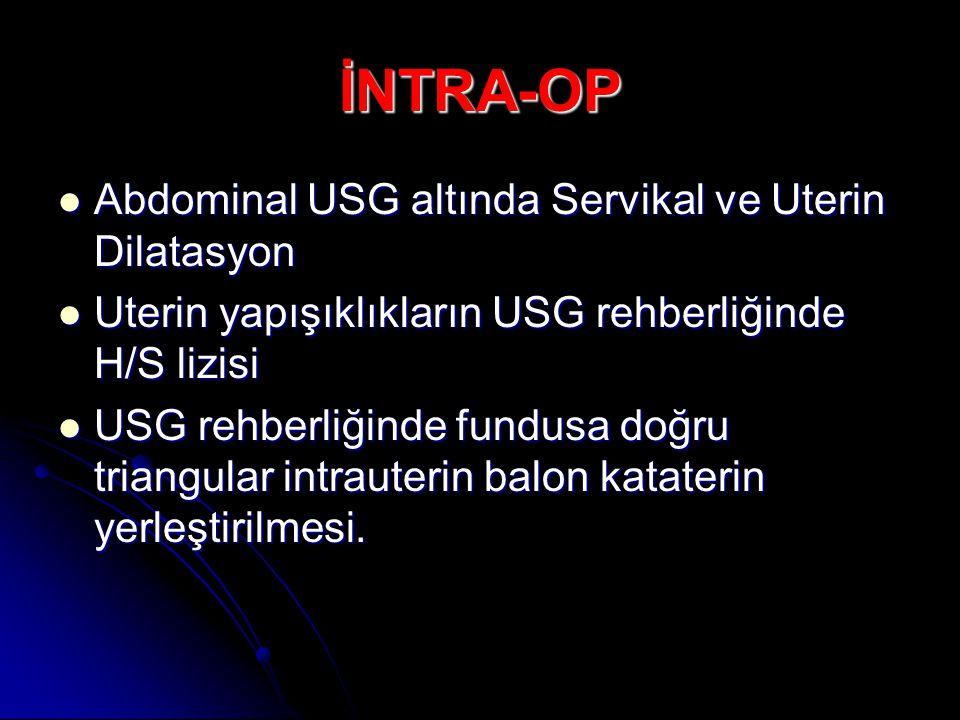 İNTRA-OP Abdominal USG altında Servikal ve Uterin Dilatasyon