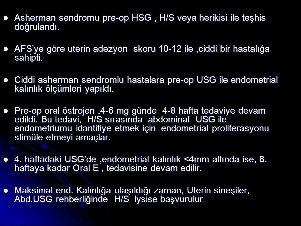 Asherman sendromu pre-op HSG , H/S veya herikisi ile teşhis doğrulandı.