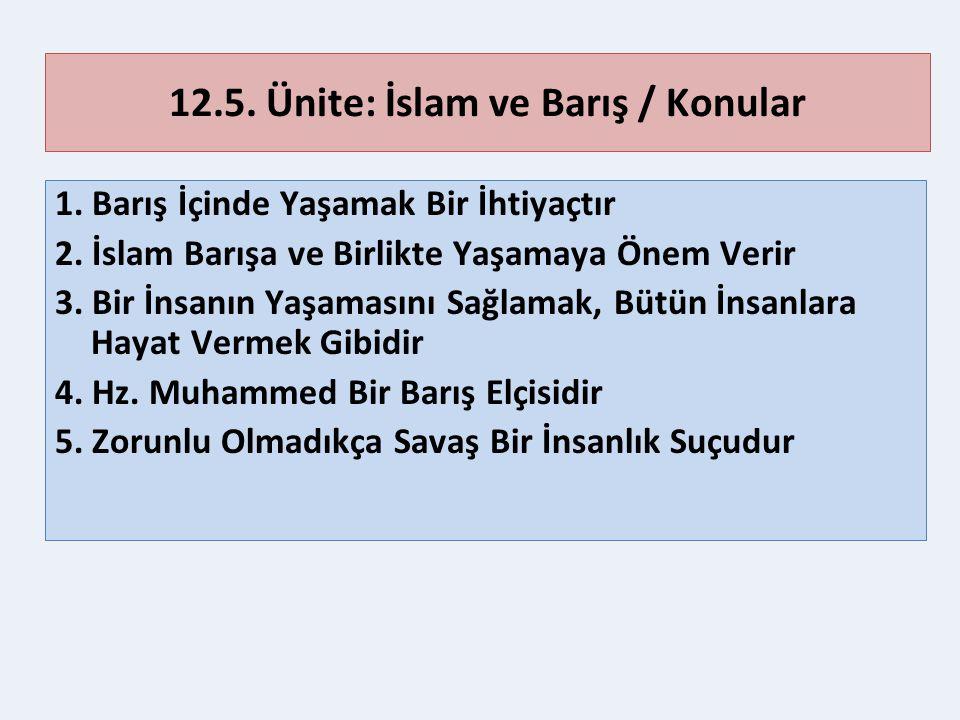 12.5. Ünite: İslam ve Barış / Konular