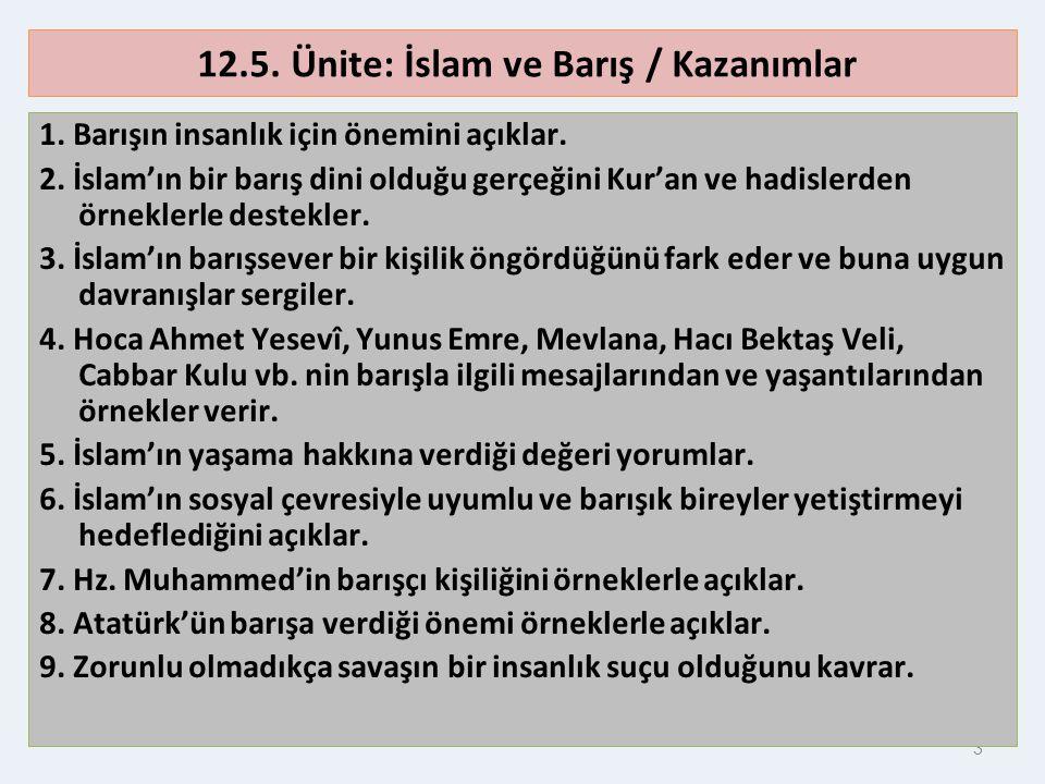 12.5. Ünite: İslam ve Barış / Kazanımlar