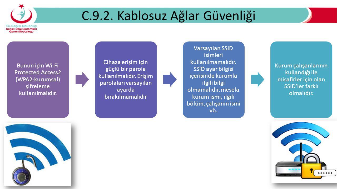 C.9.2. Kablosuz Ağlar Güvenliği