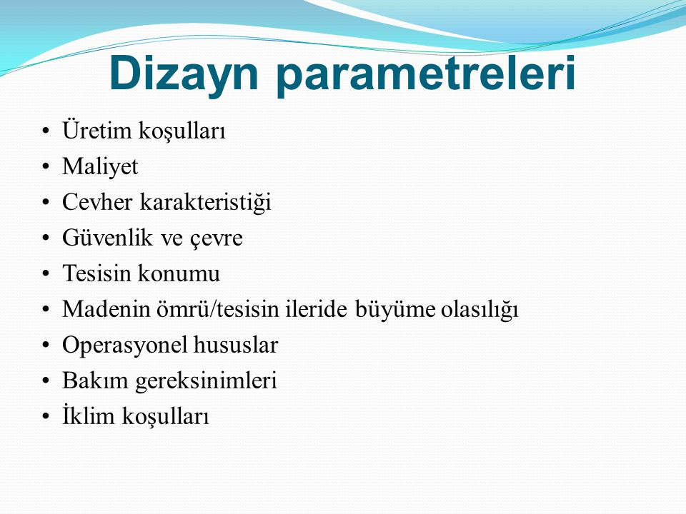 Dizayn parametreleri
