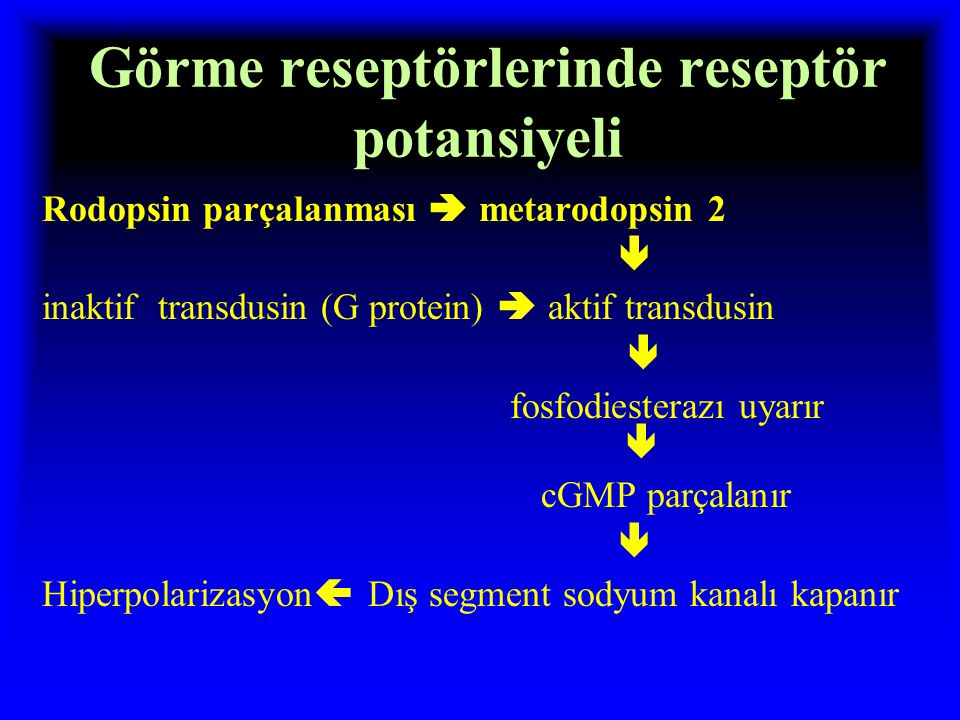 Görme reseptörlerinde reseptör potansiyeli