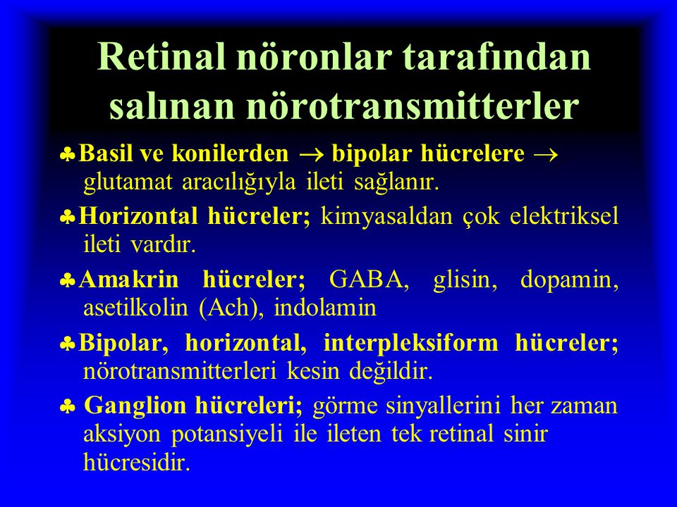 Retinal nöronlar tarafından salınan nörotransmitterler