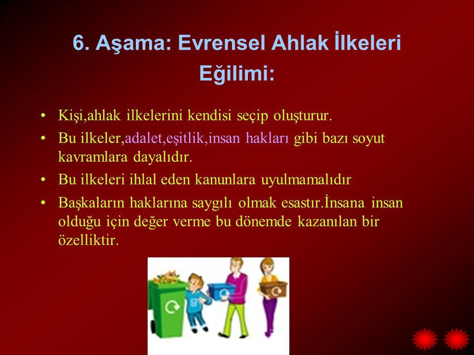 6. Aşama: Evrensel Ahlak İlkeleri Eğilimi: