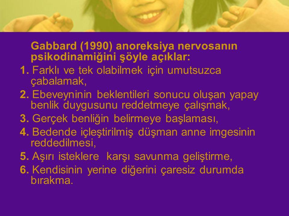 Gabbard (1990) anoreksiya nervosanın psikodinamiğini şöyle açıklar: