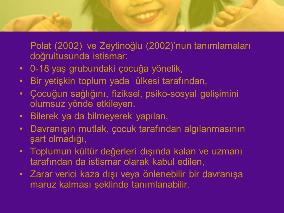 Polat (2002) ve Zeytinoğlu (2002)'nun tanımlamaları doğrultusunda istismar: