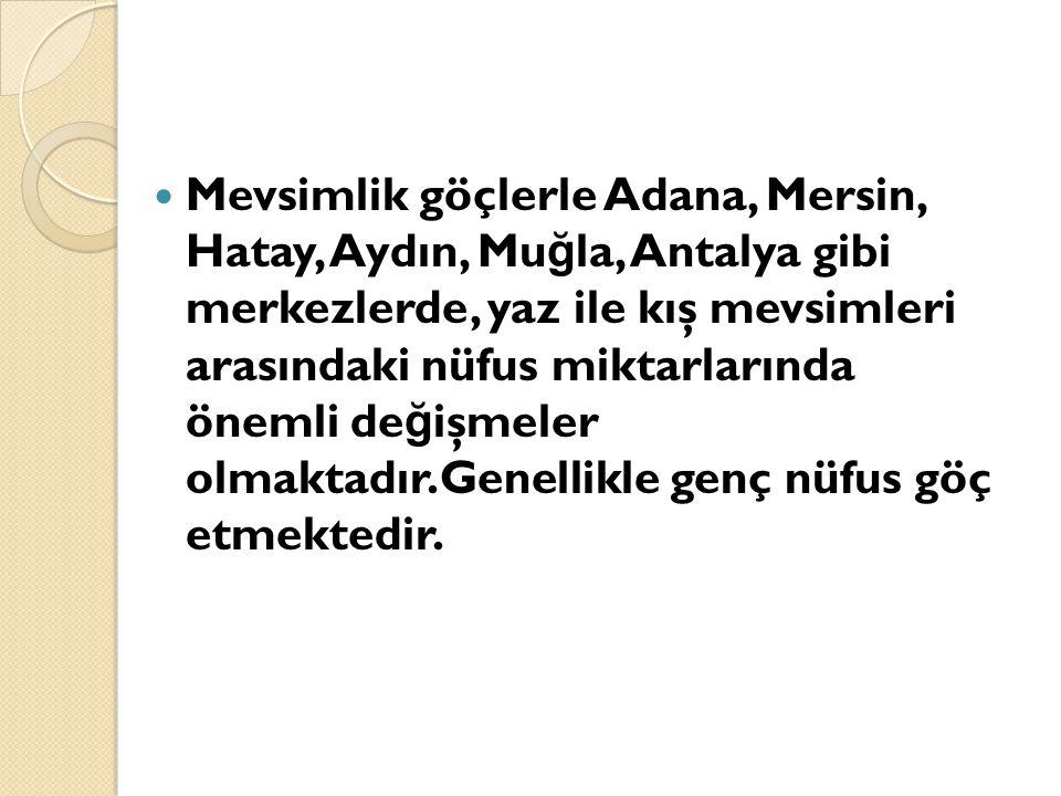 Mevsimlik göçlerle Adana, Mersin, Hatay, Aydın, Muğla, Antalya gibi merkezlerde, yaz ile kış mevsimleri arasındaki nüfus miktarlarında önemli değişmeler olmaktadır.Genellikle genç nüfus göç etmektedir.