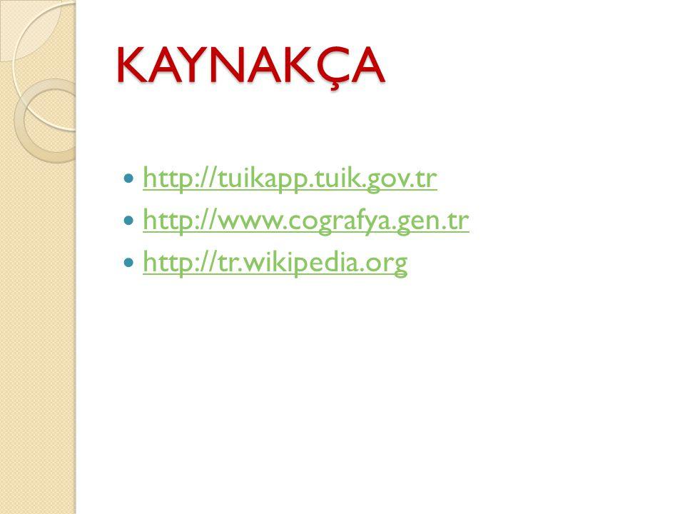 KAYNAKÇA http://tuikapp.tuik.gov.tr http://www.cografya.gen.tr