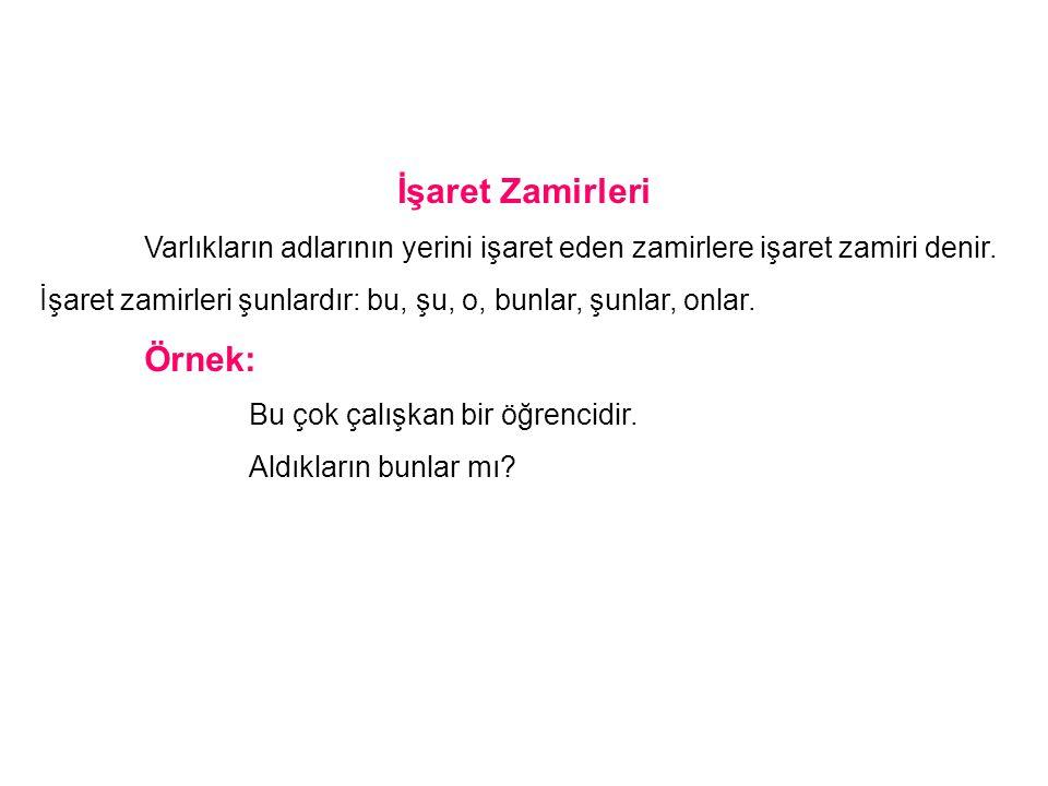 İşaret Zamirleri Örnek: