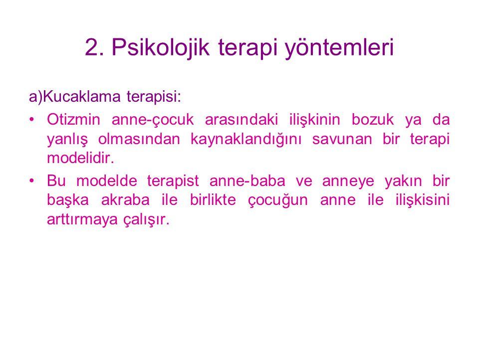 2. Psikolojik terapi yöntemleri