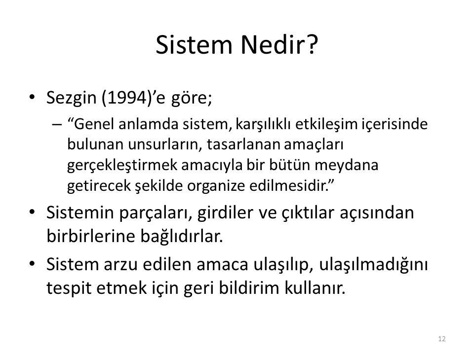 Sistem Nedir Sezgin (1994)'e göre;
